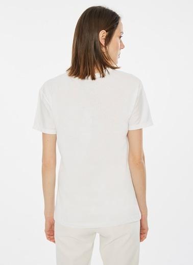 Loves You Bonjour Baskılı Kalpli T-Shirt Beyaz